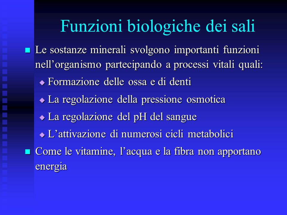 Funzioni biologiche dei sali