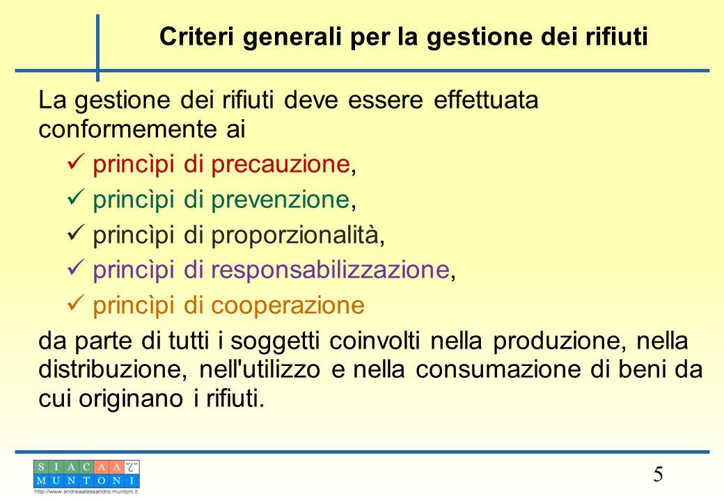 Criteri generali per la gestione dei rifiuti