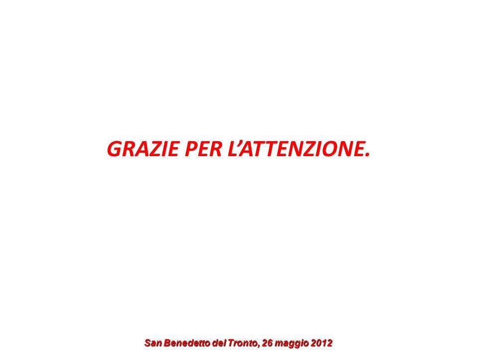 GRAZIE PER L'ATTENZIONE. San Benedetto del Tronto, 26 maggio 2012