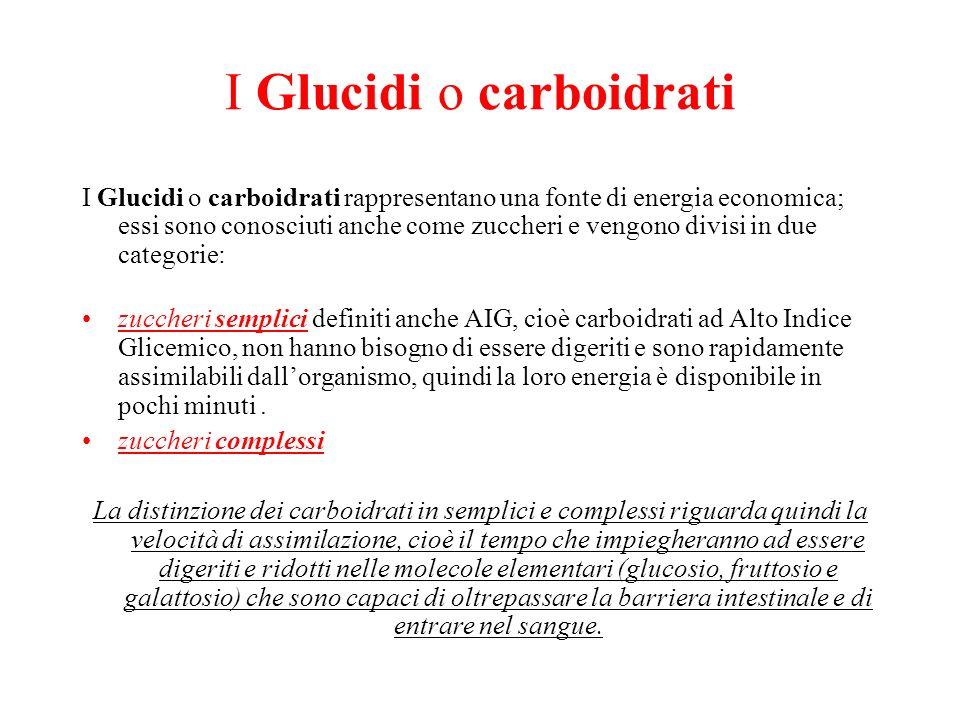 I Glucidi o carboidrati