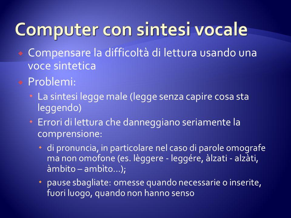 Computer con sintesi vocale