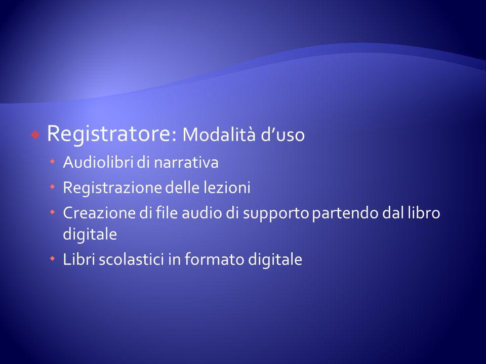 Registratore: Modalità d'uso