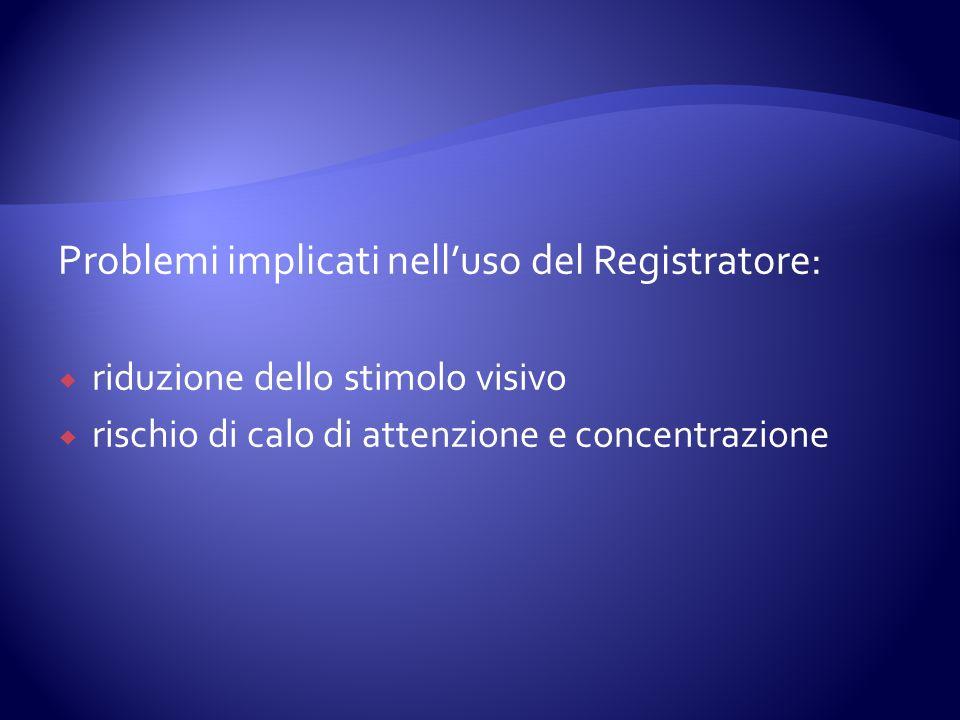 Problemi implicati nell'uso del Registratore: