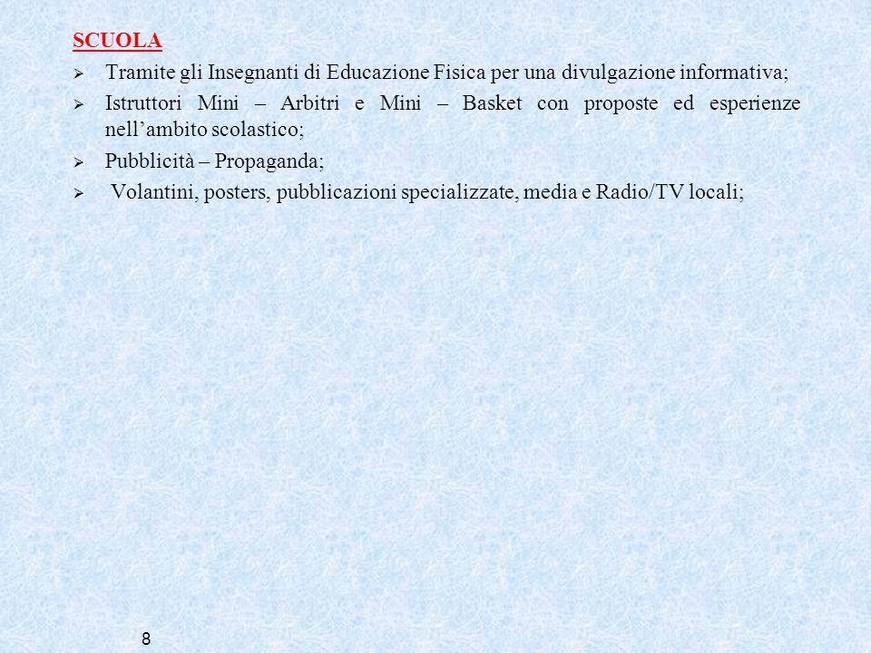 SCUOLATramite gli Insegnanti di Educazione Fisica per una divulgazione informativa;