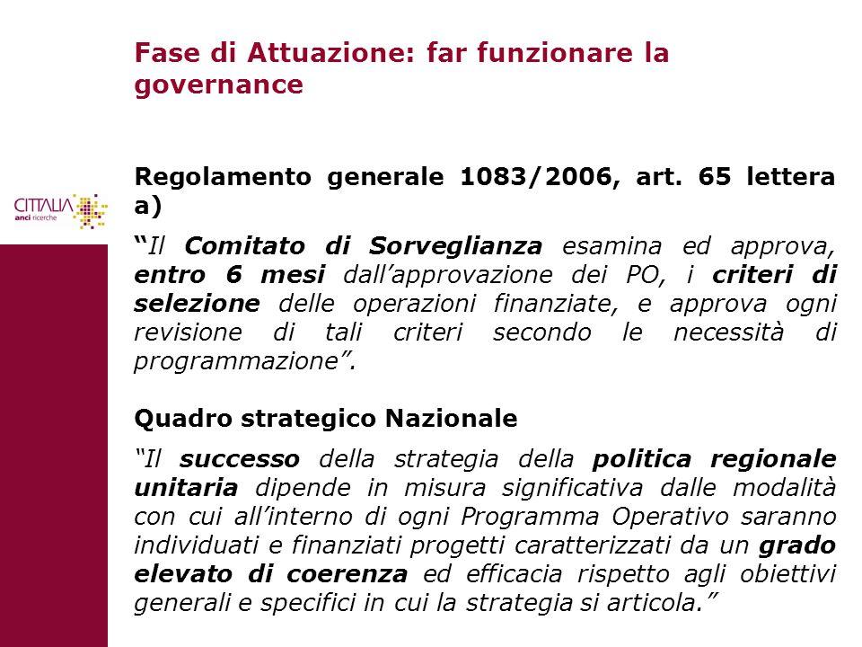 Fase di Attuazione: far funzionare la governance