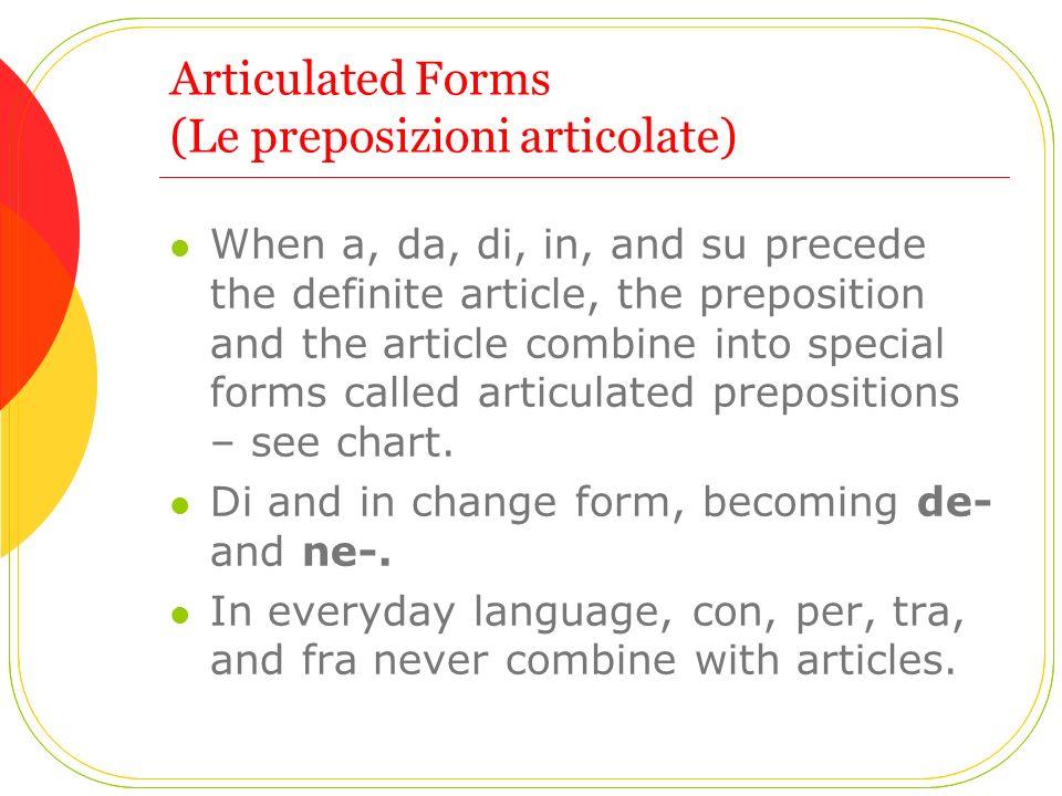 Articulated Forms (Le preposizioni articolate)