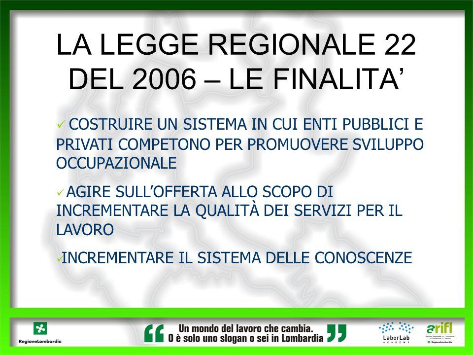 LA LEGGE REGIONALE 22 DEL 2006 – LE FINALITA'