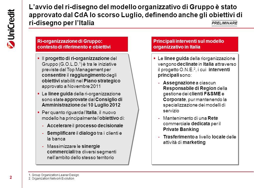 L'avvio del ri-disegno del modello organizzativo di Gruppo è stato approvato dal CdA lo scorso Luglio, definendo anche gli obiettivi di ri-disegno per l'Italia