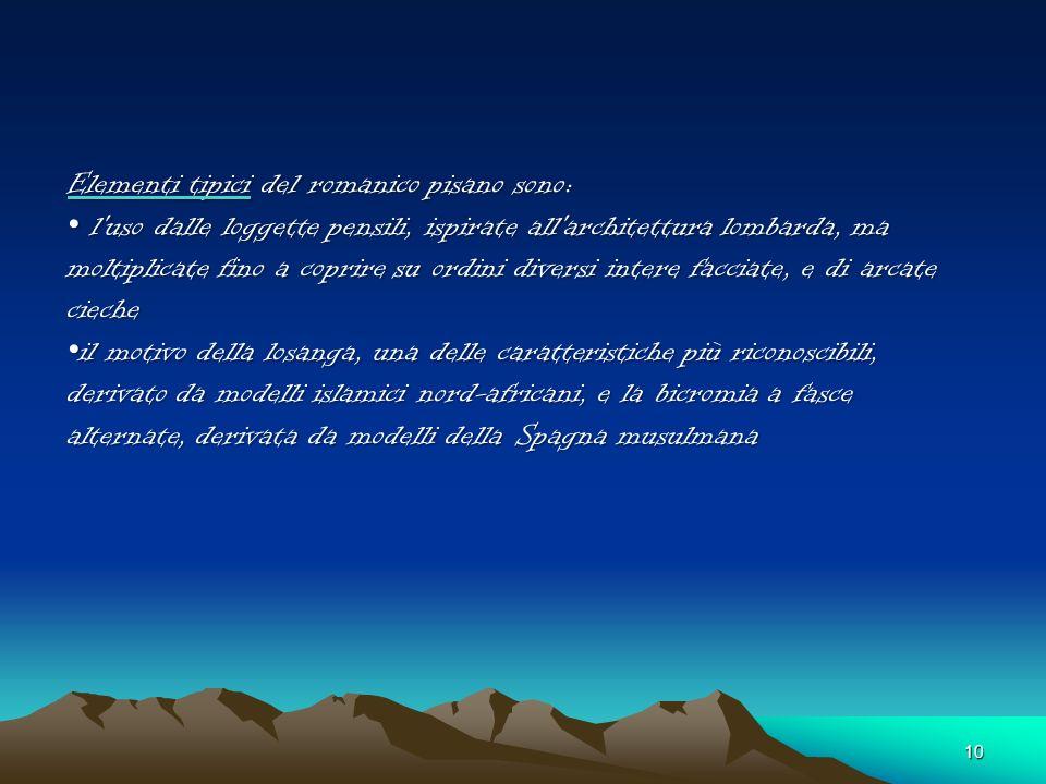 Elementi tipici del romanico pisano sono: