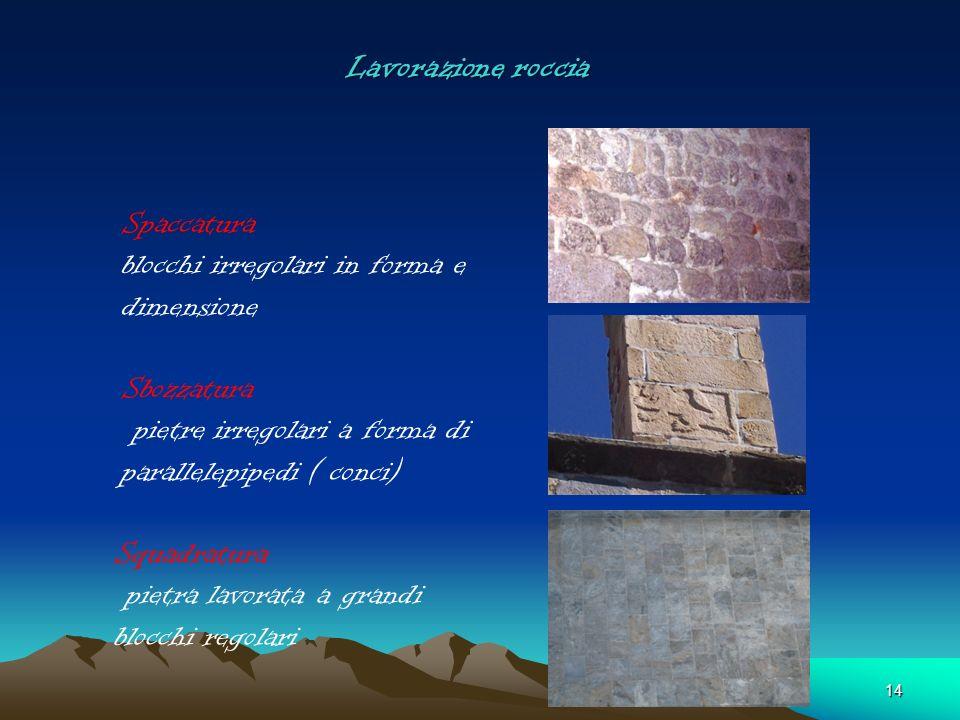 Lavorazione roccia Spaccatura blocchi irregolari in forma e dimensione