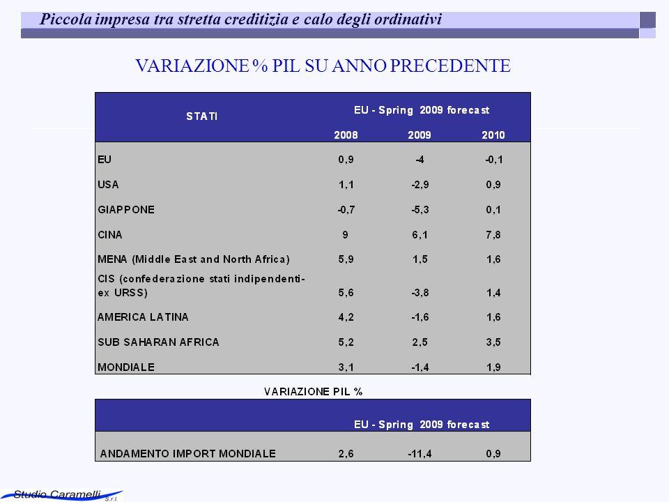 VARIAZIONE % PIL SU ANNO PRECEDENTE