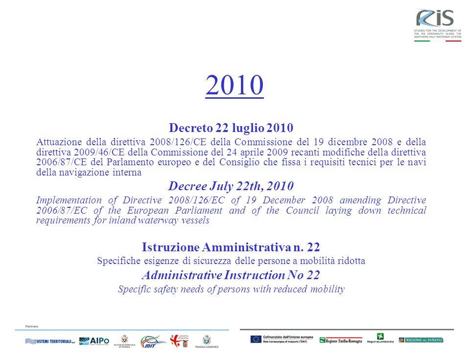 Istruzione Amministrativa n. 22 Administrative Instruction No 22