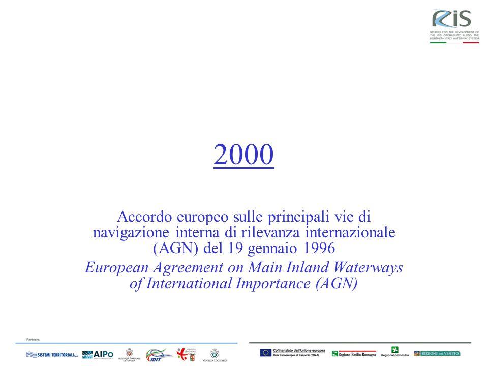 2000 Accordo europeo sulle principali vie di navigazione interna di rilevanza internazionale (AGN) del 19 gennaio 1996.