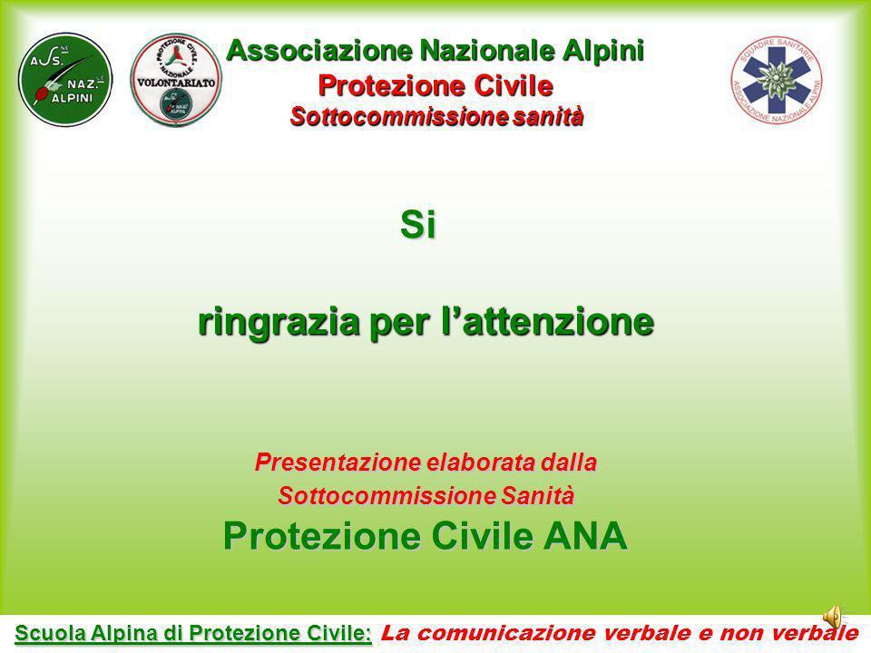 Si ringrazia per l'attenzione Protezione Civile ANA