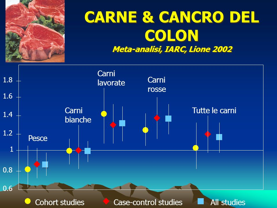CARNE & CANCRO DEL COLON Meta-analisi, IARC, Lione 2002