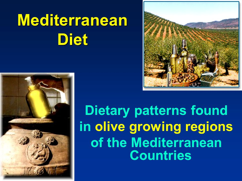 Mediterranean Diet Dietary patterns found in olive growing regions