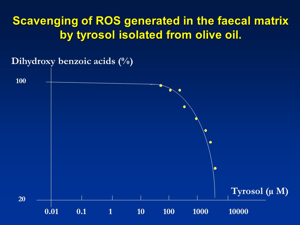 Scavenging of ROS generated in the faecal matrix by tyrosol isolated from olive oil.