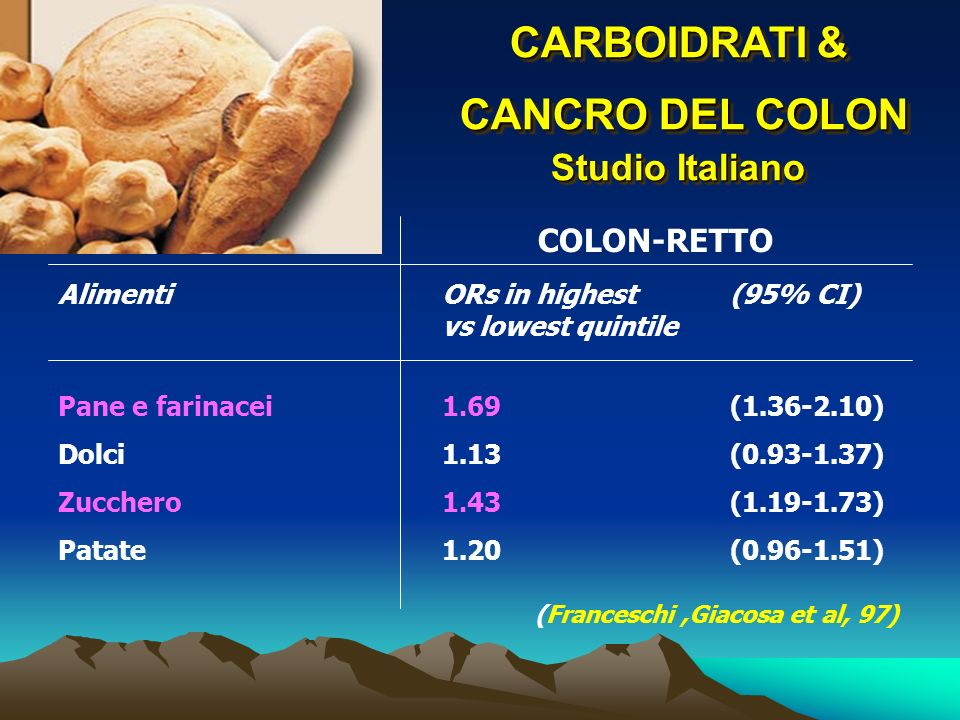 CARBOIDRATI & CANCRO DEL COLON Studio Italiano