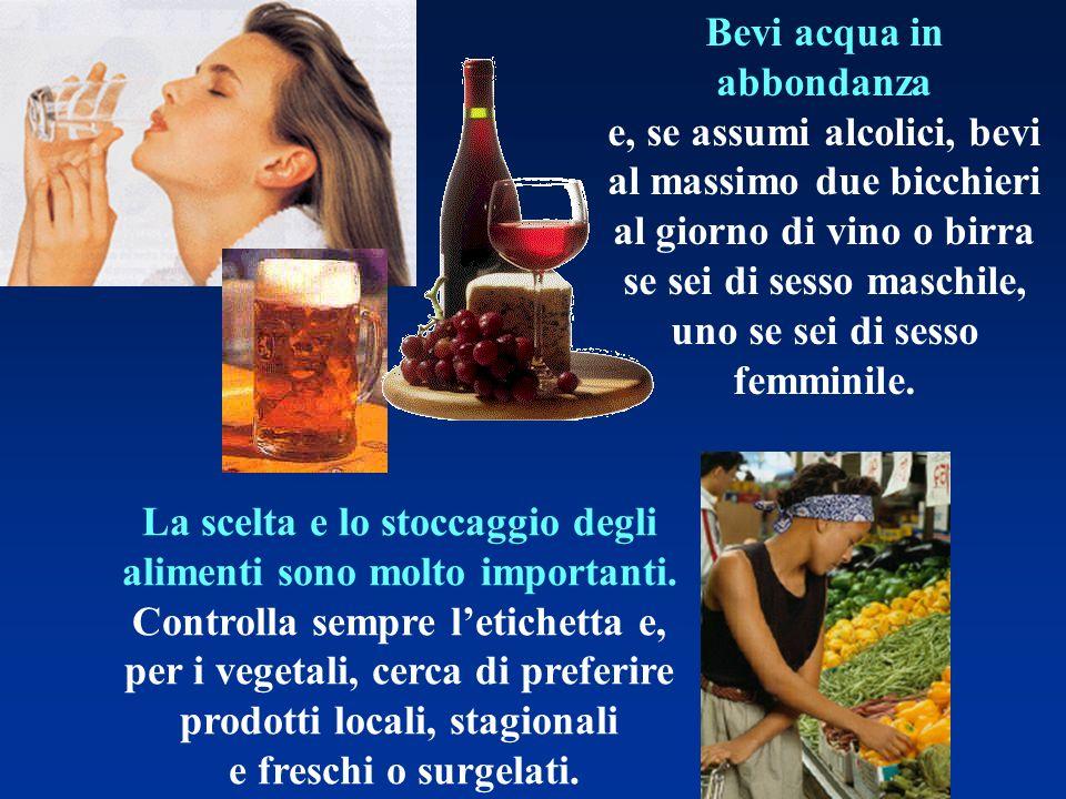 Bevi acqua in abbondanza e, se assumi alcolici, bevi