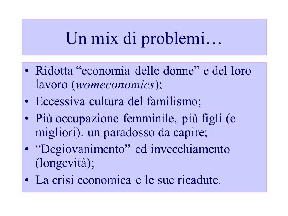 Un mix di problemi… Ridotta economia delle donne e del loro lavoro (womeconomics); Eccessiva cultura del familismo;