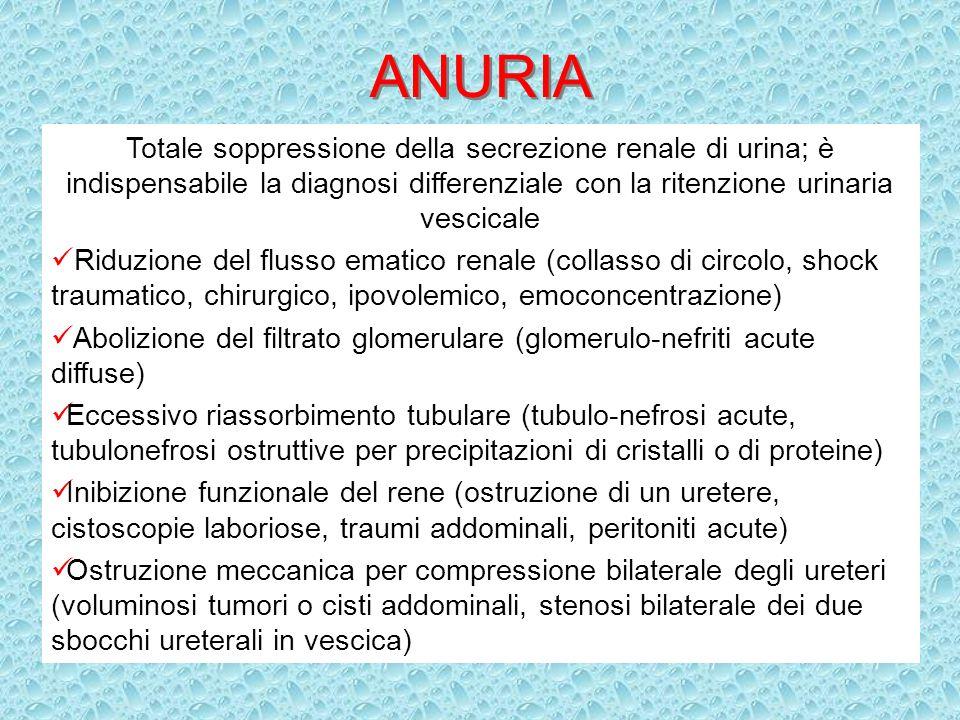 ANURIATotale soppressione della secrezione renale di urina; è indispensabile la diagnosi differenziale con la ritenzione urinaria vescicale.