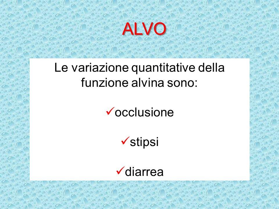 Le variazione quantitative della funzione alvina sono: