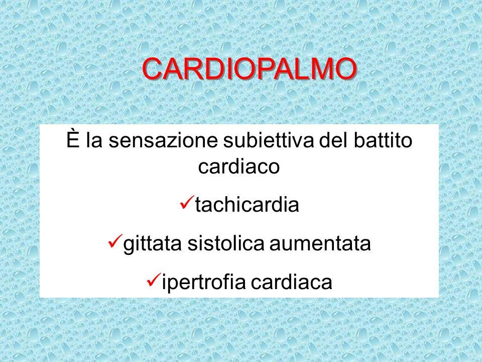 CARDIOPALMO È la sensazione subiettiva del battito cardiaco