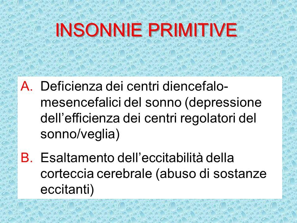 INSONNIE PRIMITIVE Deficienza dei centri diencefalo-mesencefalici del sonno (depressione dell'efficienza dei centri regolatori del sonno/veglia)