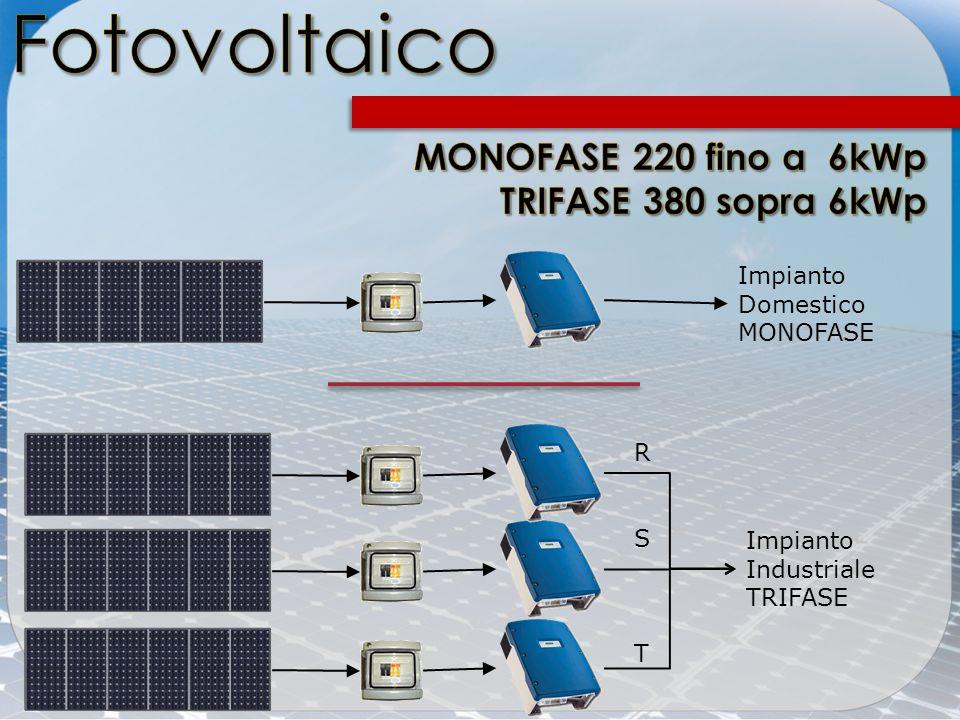Fotovoltaico MONOFASE 220 fino a 6kWp TRIFASE 380 sopra 6kWp Impianto