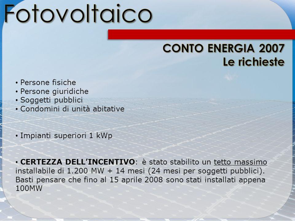 Fotovoltaico CONTO ENERGIA 2007 Le richieste Persone fisiche