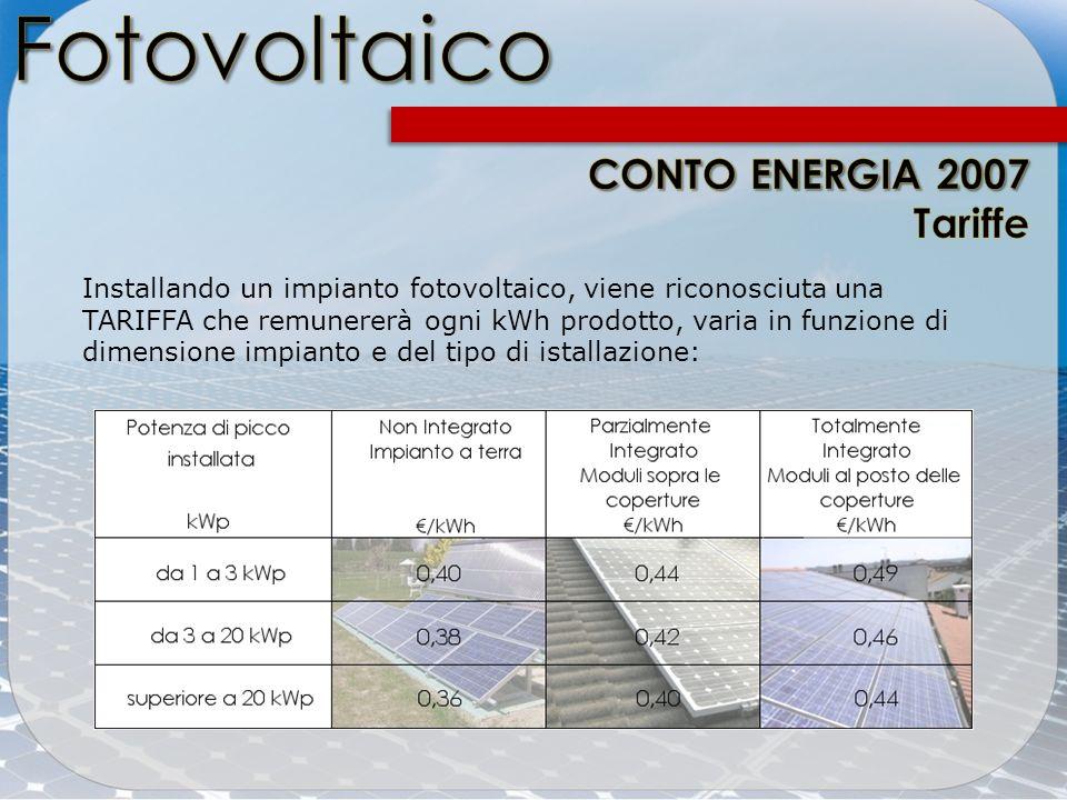 Fotovoltaico CONTO ENERGIA 2007 Tariffe