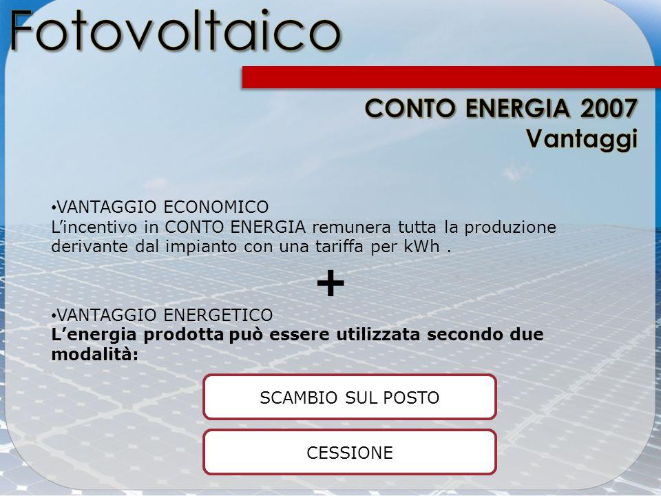 Fotovoltaico + CONTO ENERGIA 2007 Vantaggi VANTAGGIO ECONOMICO