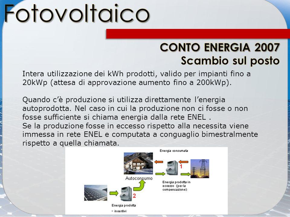 Fotovoltaico CONTO ENERGIA 2007 Scambio sul posto