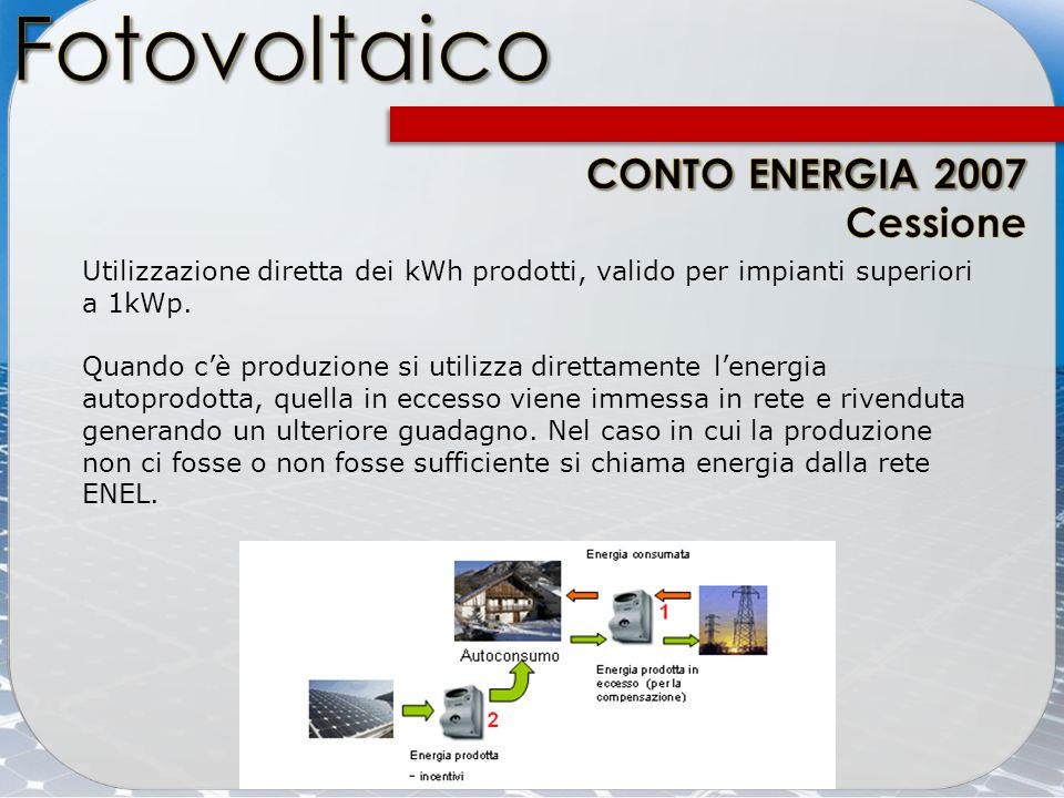 Fotovoltaico CONTO ENERGIA 2007 Cessione