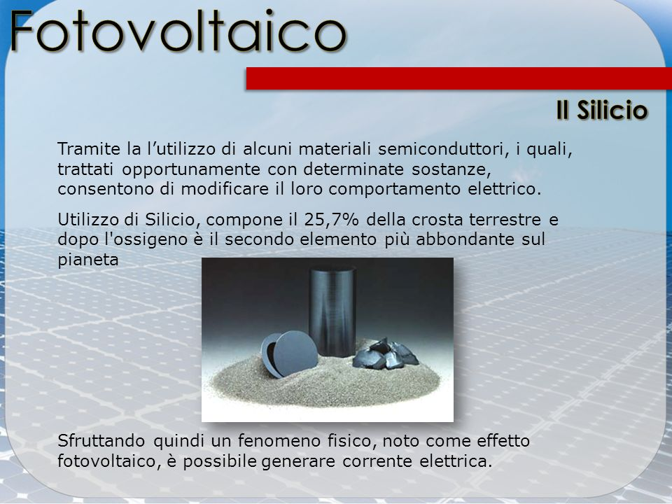 Fotovoltaico Il Silicio
