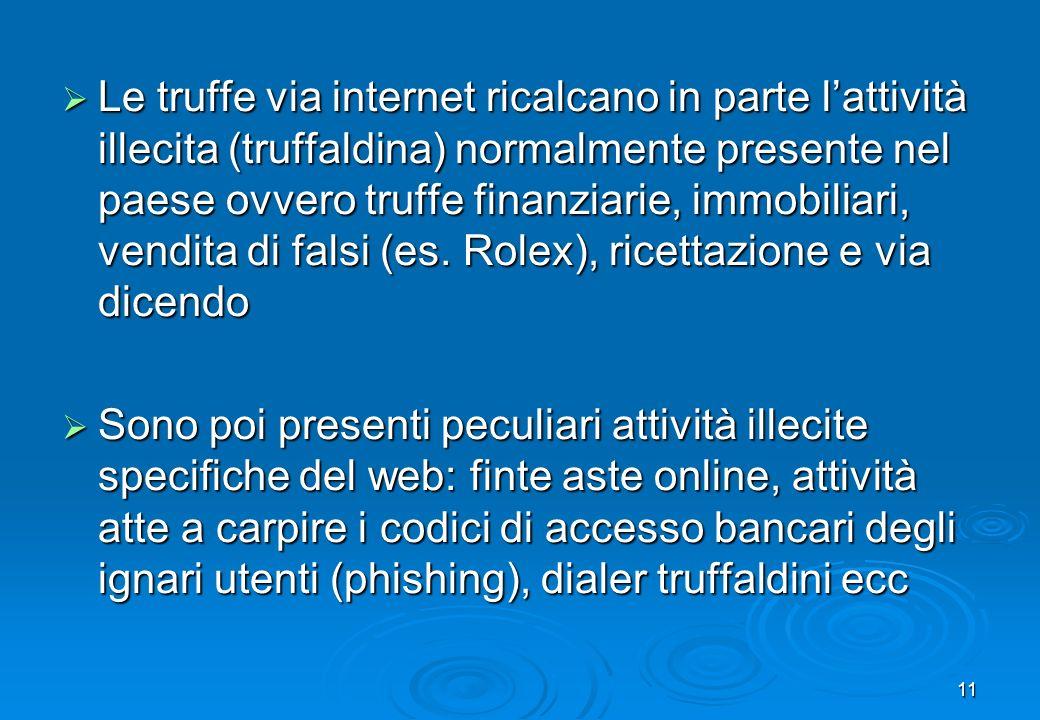 Le truffe via internet ricalcano in parte l'attività illecita (truffaldina) normalmente presente nel paese ovvero truffe finanziarie, immobiliari, vendita di falsi (es. Rolex), ricettazione e via dicendo