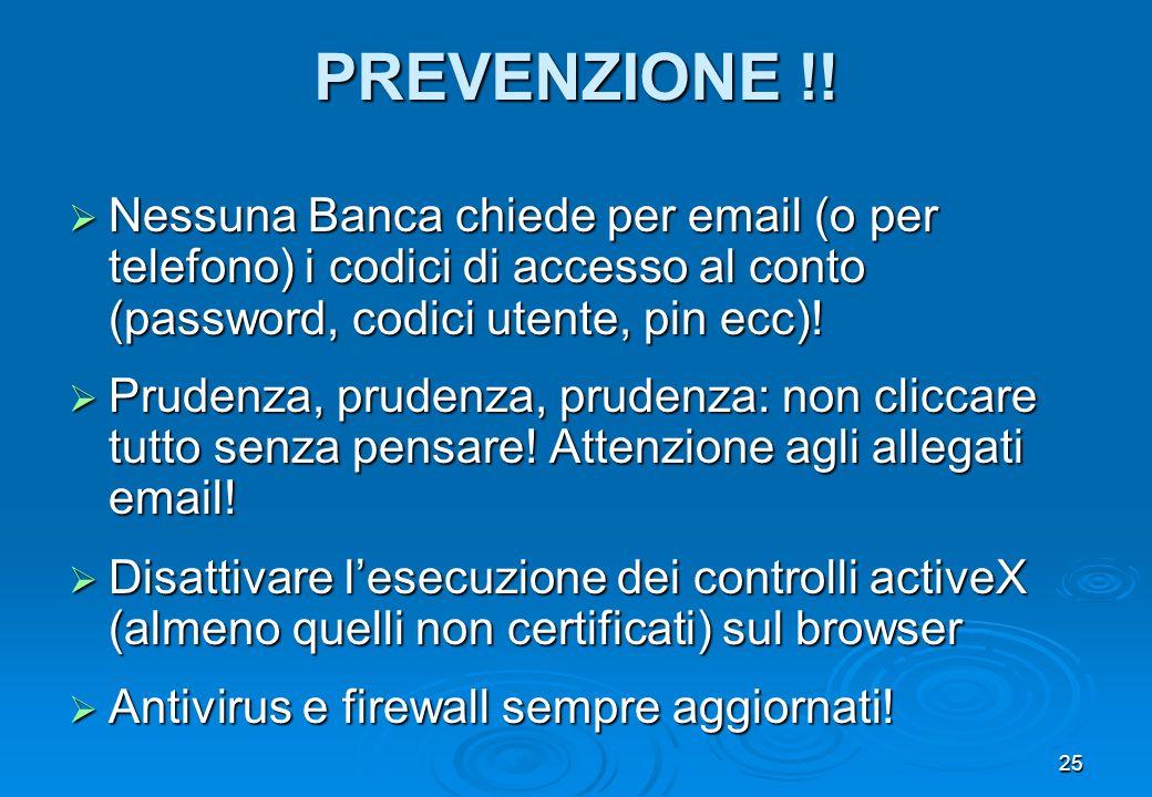 PREVENZIONE !! Nessuna Banca chiede per email (o per telefono) i codici di accesso al conto (password, codici utente, pin ecc)!