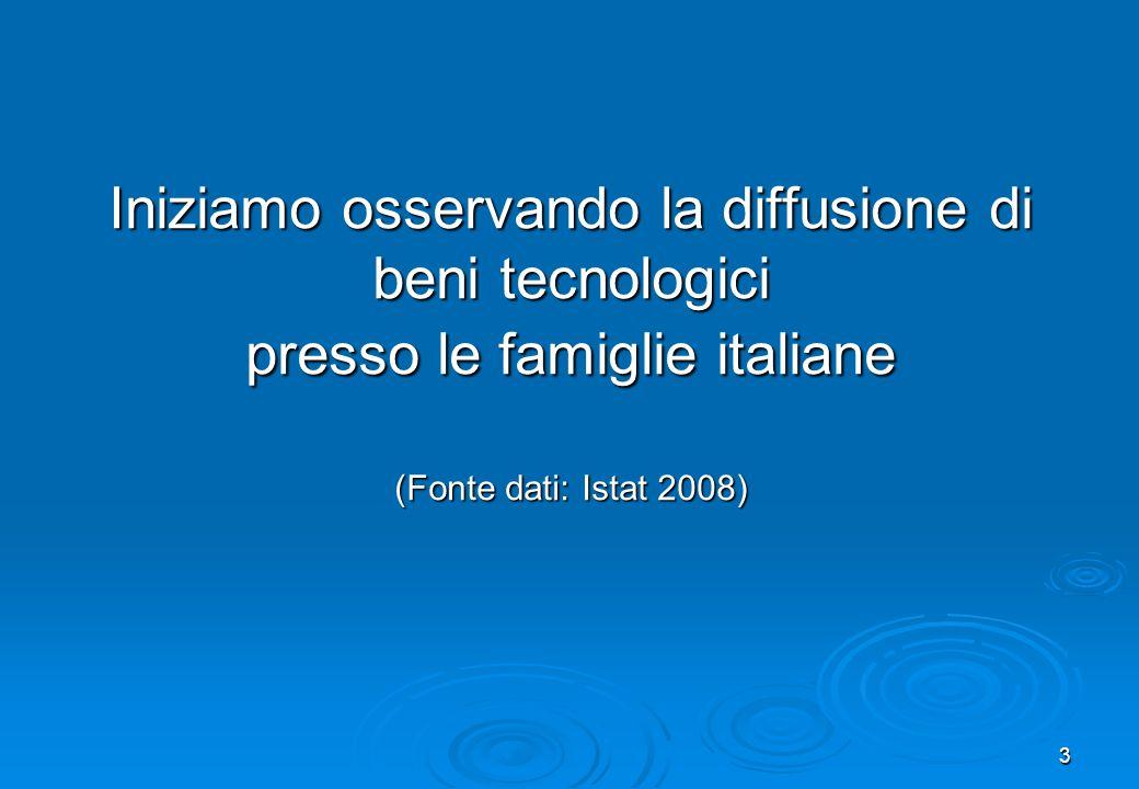 Iniziamo osservando la diffusione di beni tecnologici presso le famiglie italiane (Fonte dati: Istat 2008)