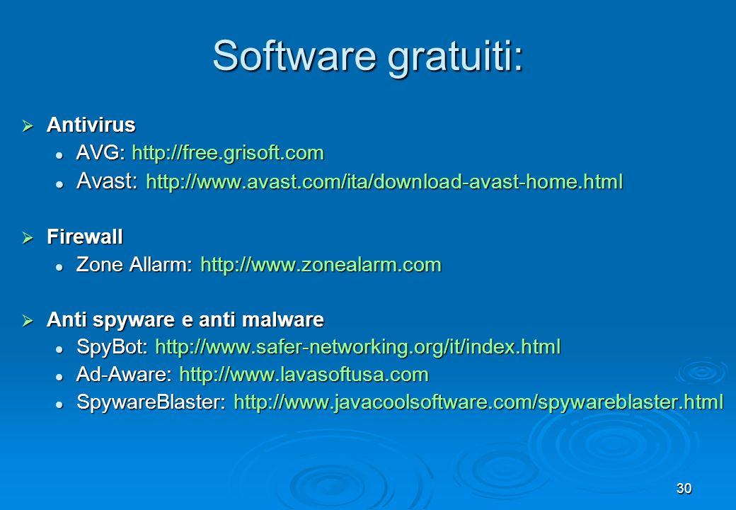 Software gratuiti: Antivirus. AVG: http://free.grisoft.com. Avast: http://www.avast.com/ita/download-avast-home.html.