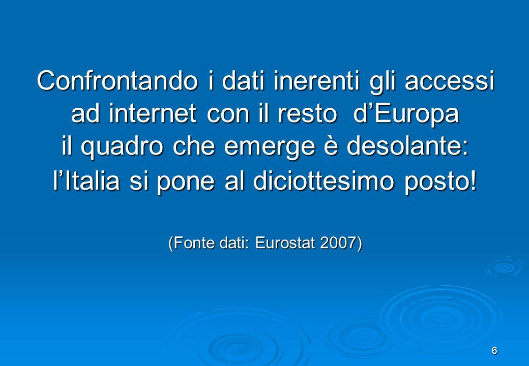 Confrontando i dati inerenti gli accessi ad internet con il resto d'Europa il quadro che emerge è desolante: l'Italia si pone al diciottesimo posto.