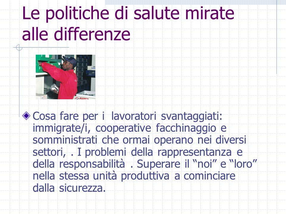Le politiche di salute mirate alle differenze