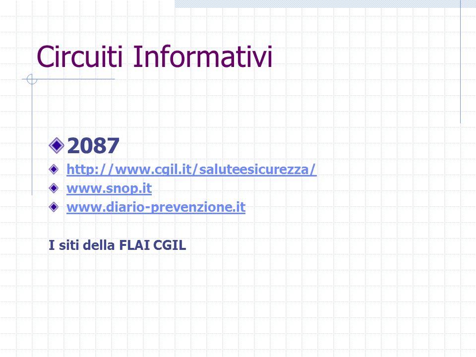 Circuiti Informativi 2087 http://www.cgil.it/saluteesicurezza/