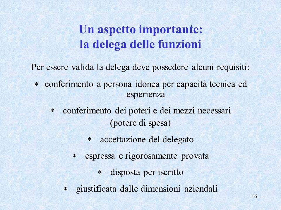 Un aspetto importante: la delega delle funzioni