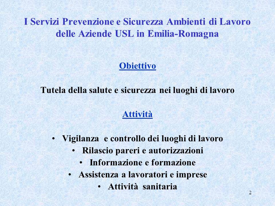 I Servizi Prevenzione e Sicurezza Ambienti di Lavoro delle Aziende USL in Emilia-Romagna