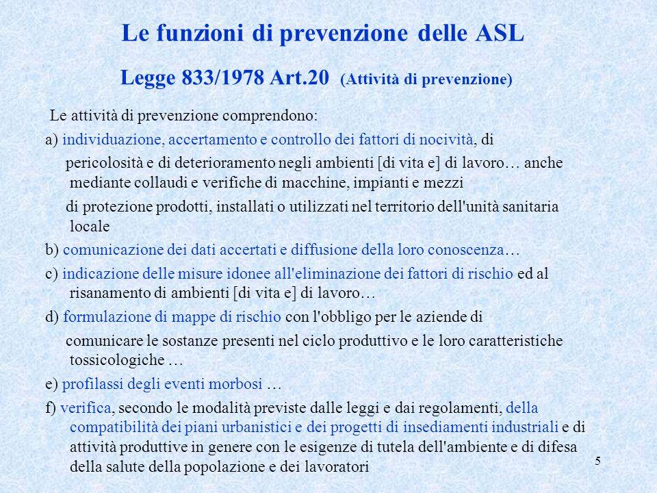 Le funzioni di prevenzione delle ASL
