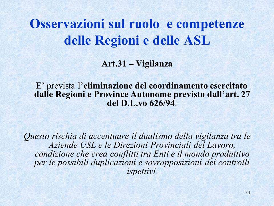 Osservazioni sul ruolo e competenze delle Regioni e delle ASL