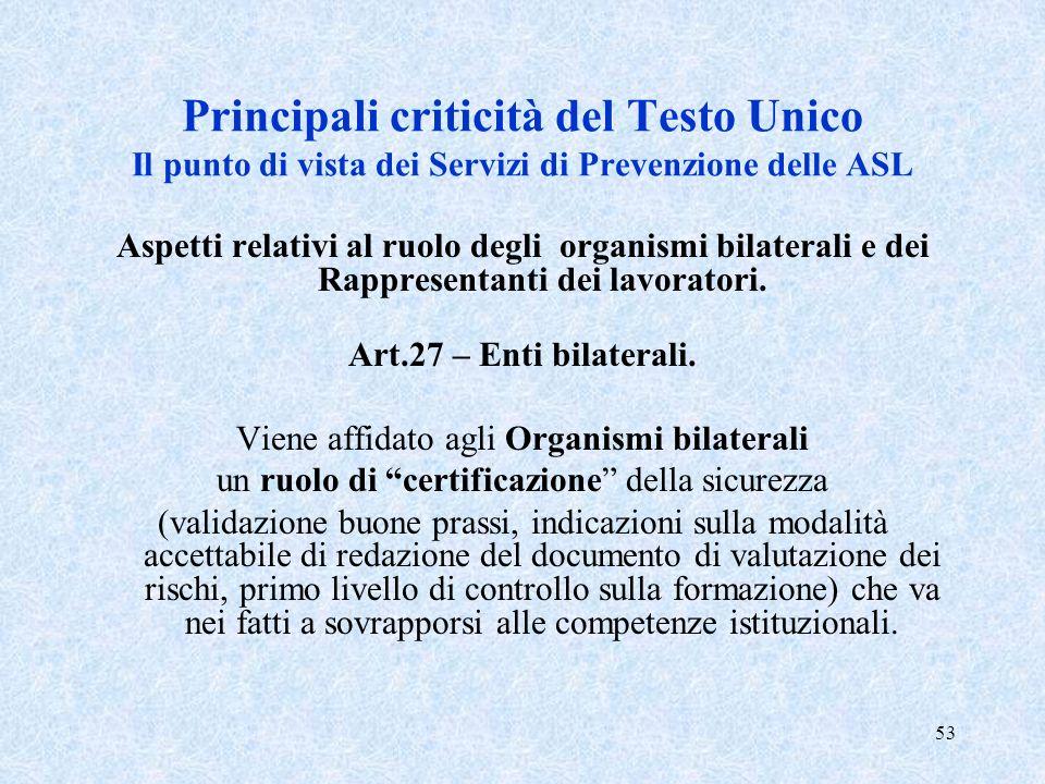 Principali criticità del Testo Unico Il punto di vista dei Servizi di Prevenzione delle ASL