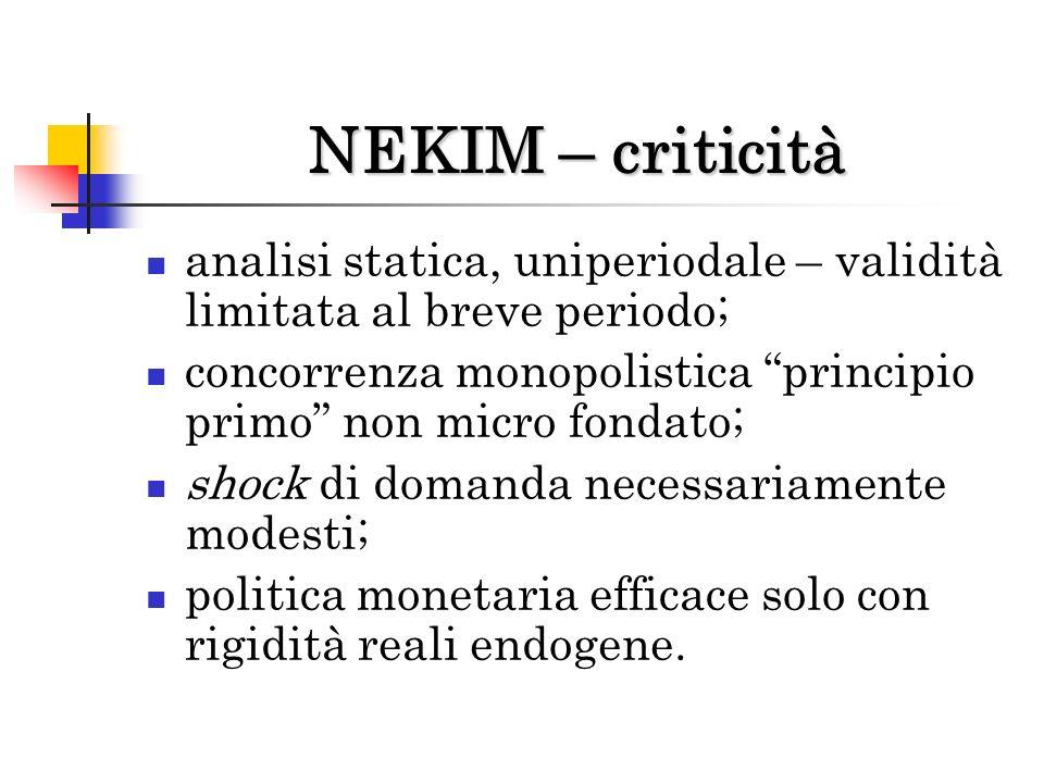 NEKIM – criticità analisi statica, uniperiodale – validità limitata al breve periodo; concorrenza monopolistica principio primo non micro fondato;
