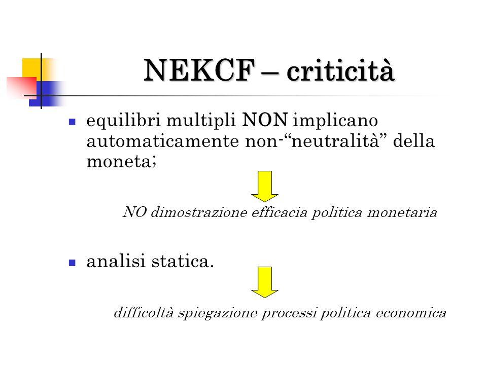 NEKCF – criticità equilibri multipli NON implicano automaticamente non- neutralità della moneta; NO dimostrazione efficacia politica monetaria.