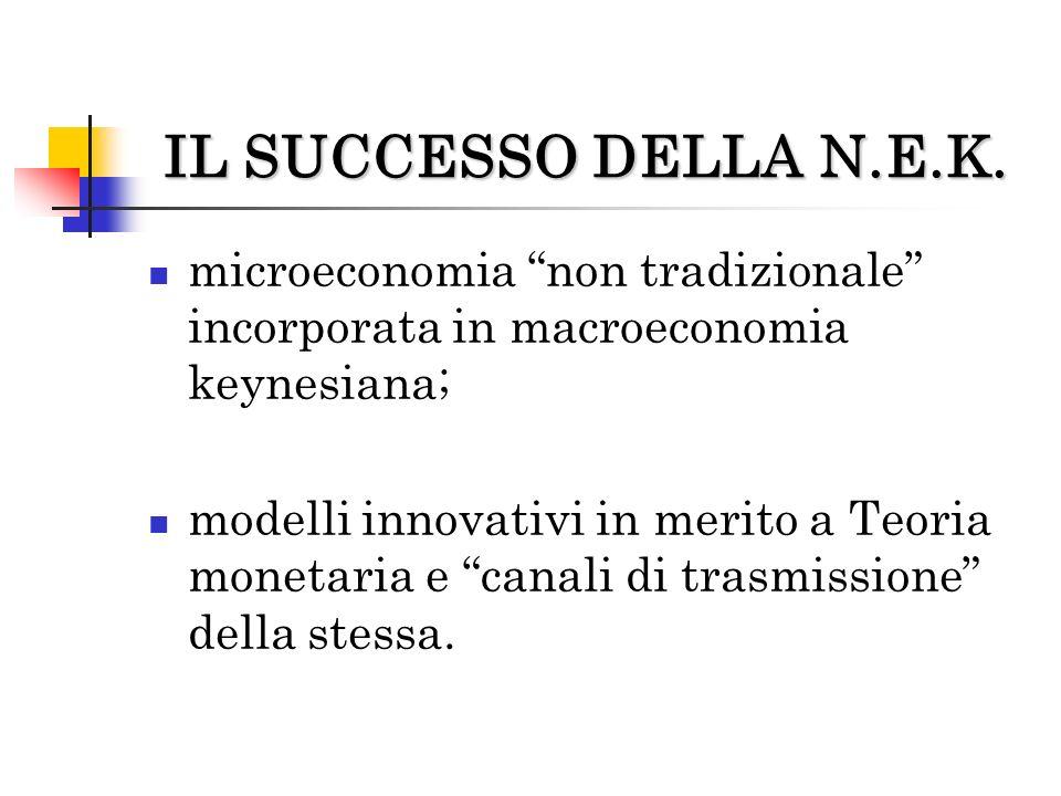 IL SUCCESSO DELLA N.E.K. microeconomia non tradizionale incorporata in macroeconomia keynesiana;